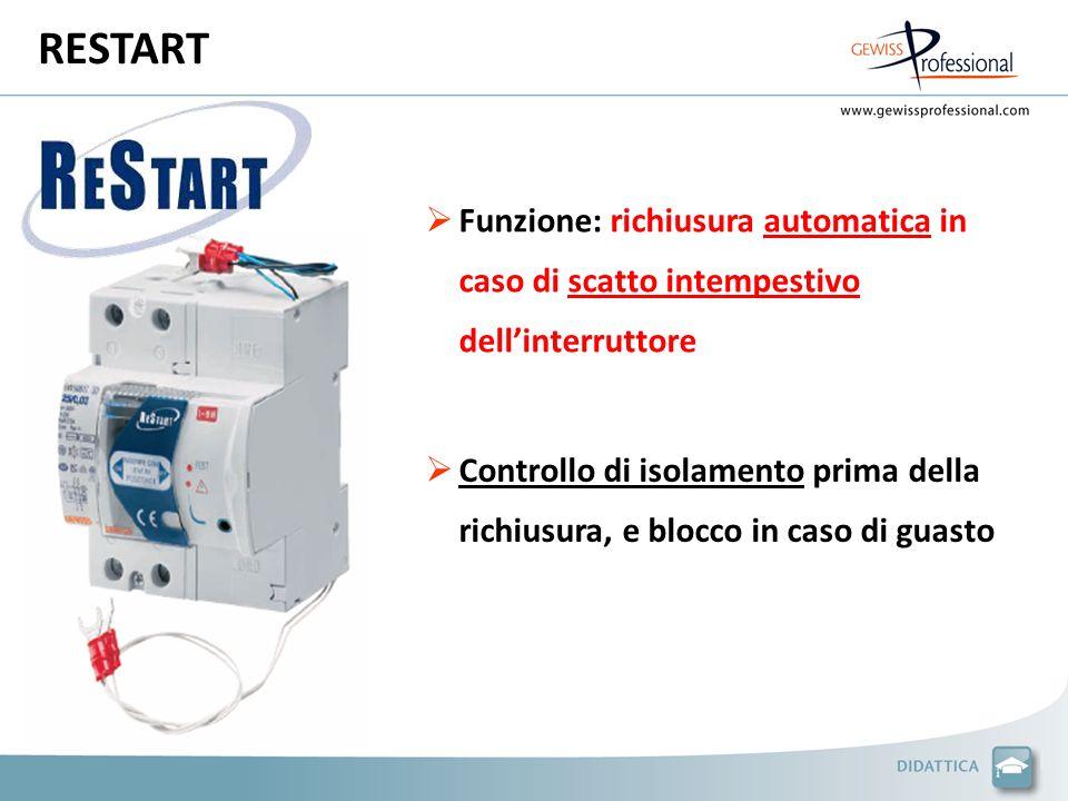 RESTART Funzione: richiusura automatica in caso di scatto intempestivo dell'interruttore.