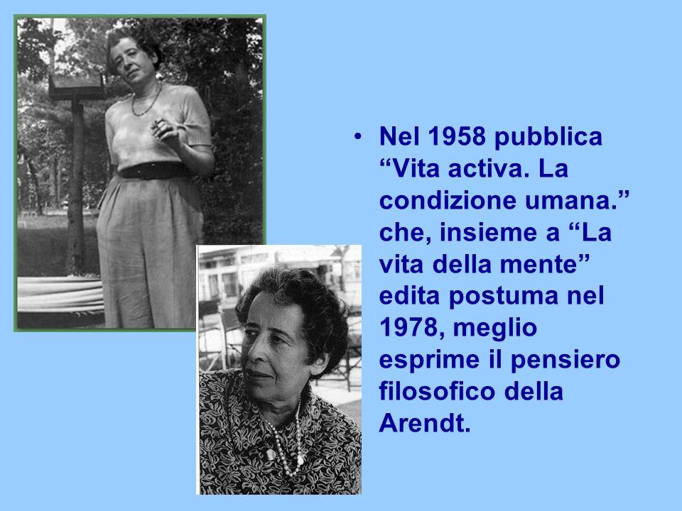 Nel 1958 pubblica Vita activa. La condizione umana