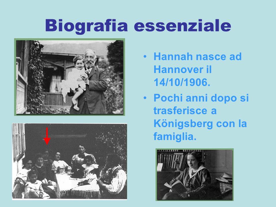 Biografia essenziale Hannah nasce ad Hannover il 14/10/1906.