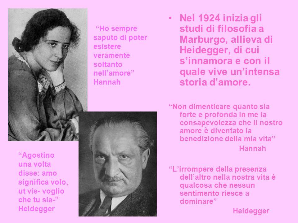 Nel 1924 inizia gli studi di filosofia a Marburgo, allieva di Heidegger, di cui s'innamora e con il quale vive un'intensa storia d'amore.