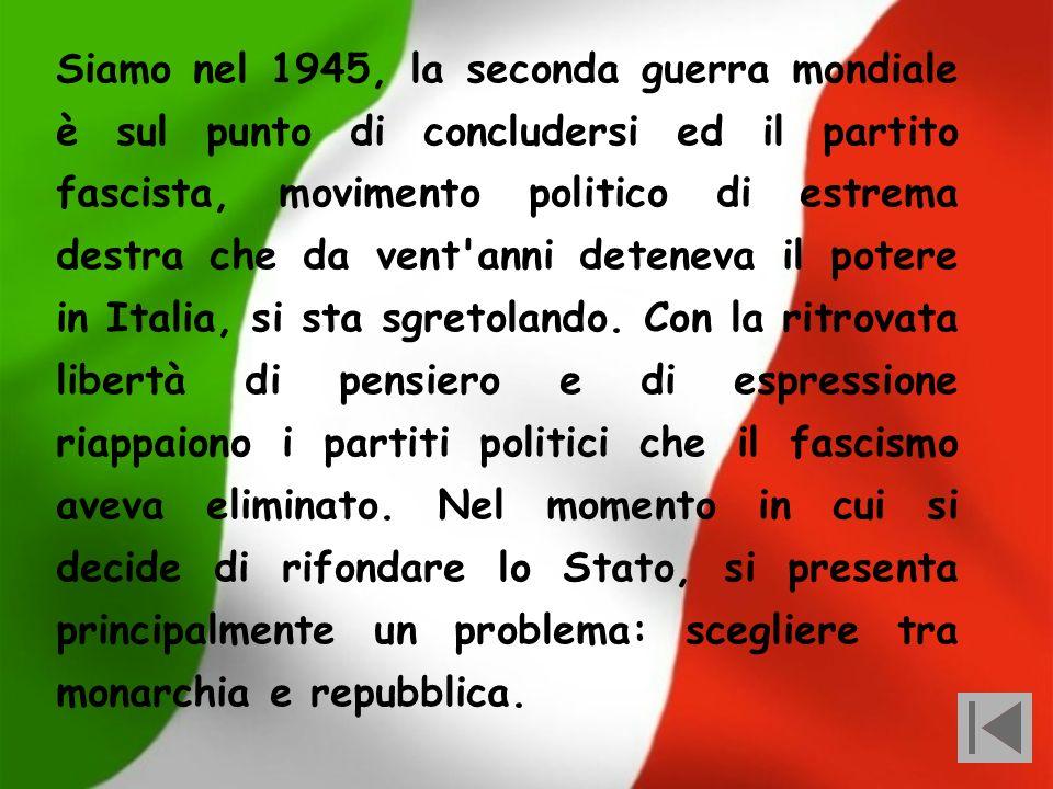 Siamo nel 1945, la seconda guerra mondiale è sul punto di concludersi ed il partito fascista, movimento politico di estrema destra che da vent anni deteneva il potere in Italia, si sta sgretolando.