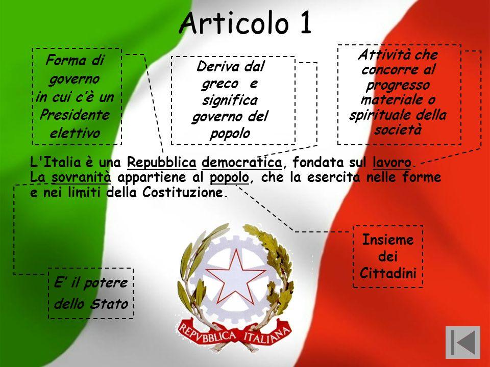 Articolo 1 Attività che concorre al progresso materiale o spirituale della società. Forma di governo.