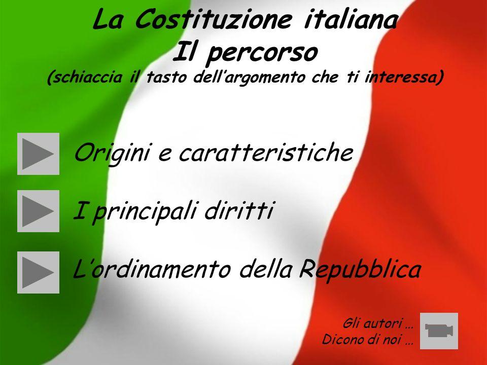 La Costituzione italiana Il percorso (schiaccia il tasto dell'argomento che ti interessa)