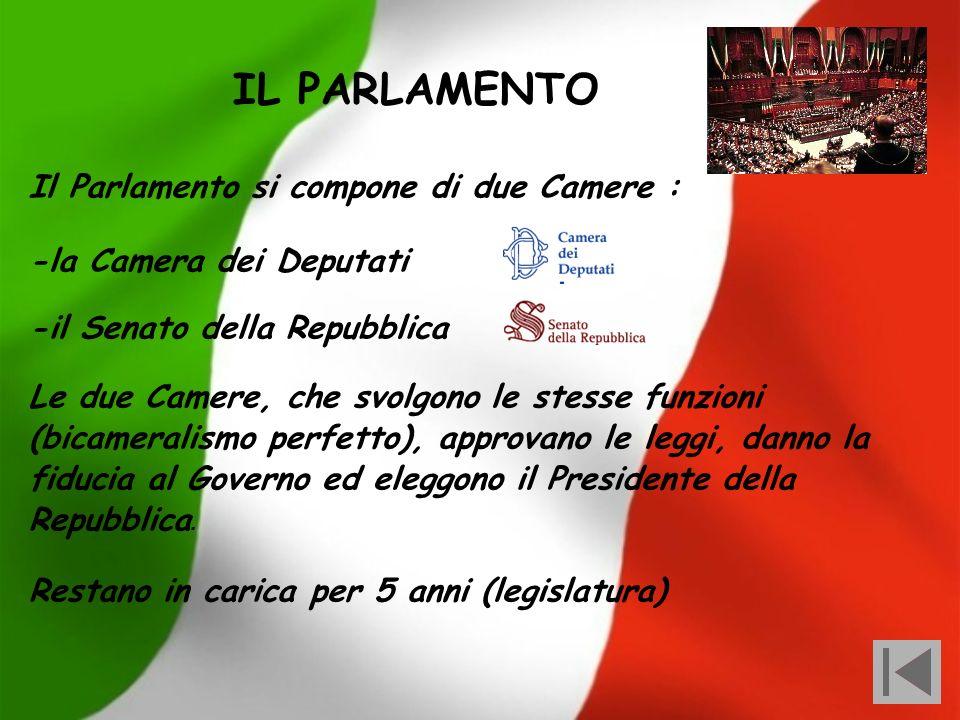 IL PARLAMENTO Il Parlamento si compone di due Camere :