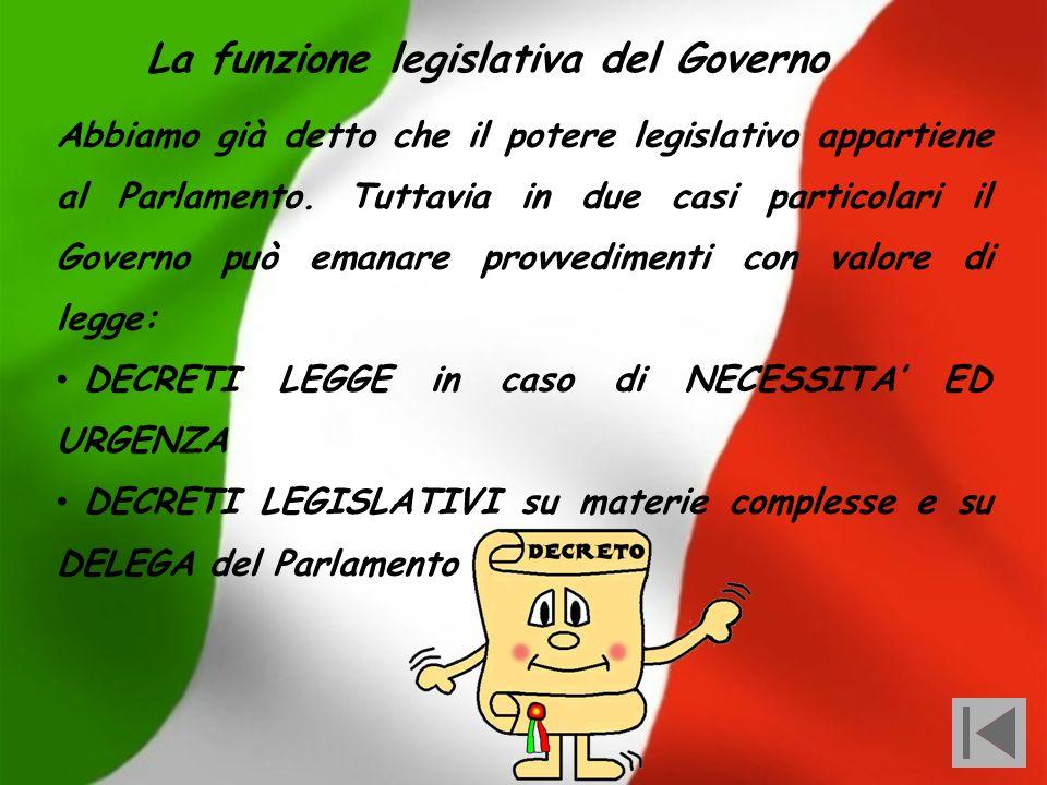 La funzione legislativa del Governo
