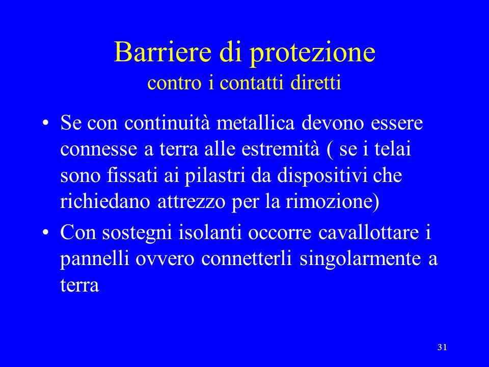 Barriere di protezione contro i contatti diretti