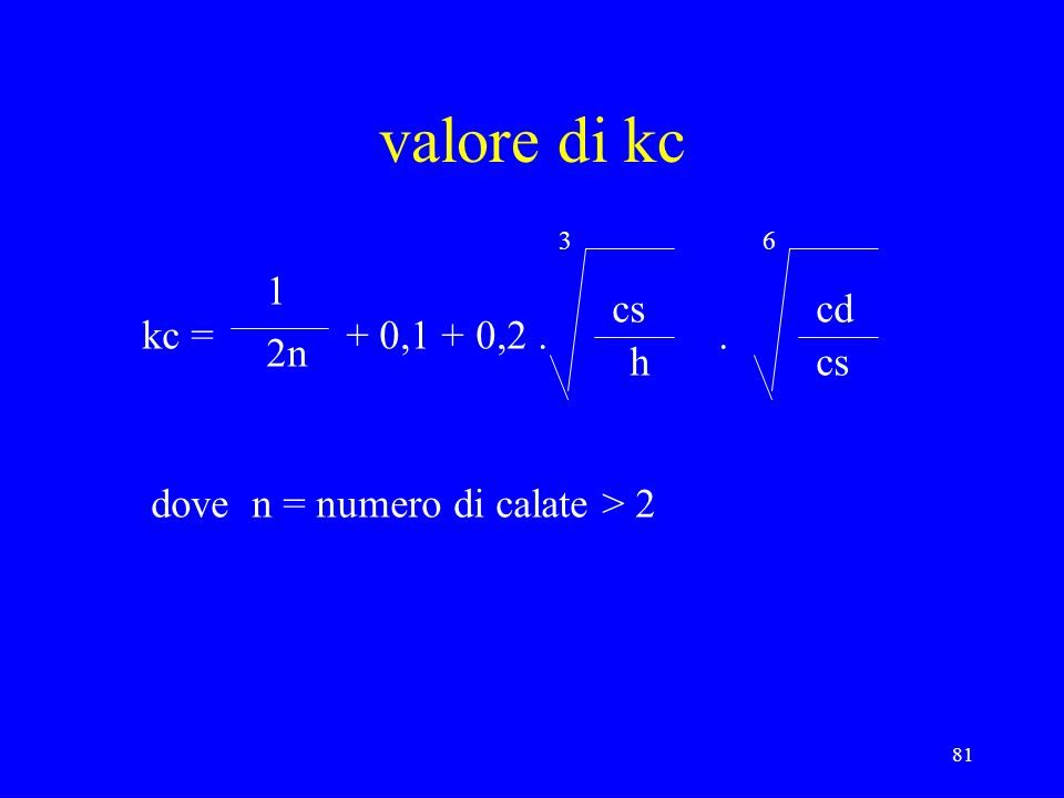 valore di kc 1 cs cd kc = + 0,1 + 0, n h cs