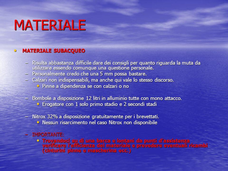 MATERIALE MATERIALE SUBACQUEO
