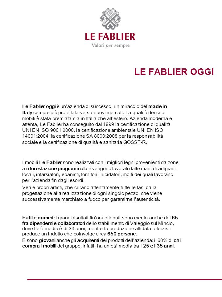 LE FABLIER OGGI