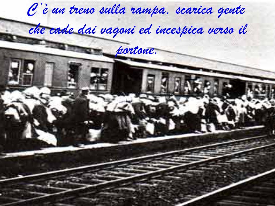 C'è un treno sulla rampa, scarica gente che cade dai vagoni ed incespica verso il portone.