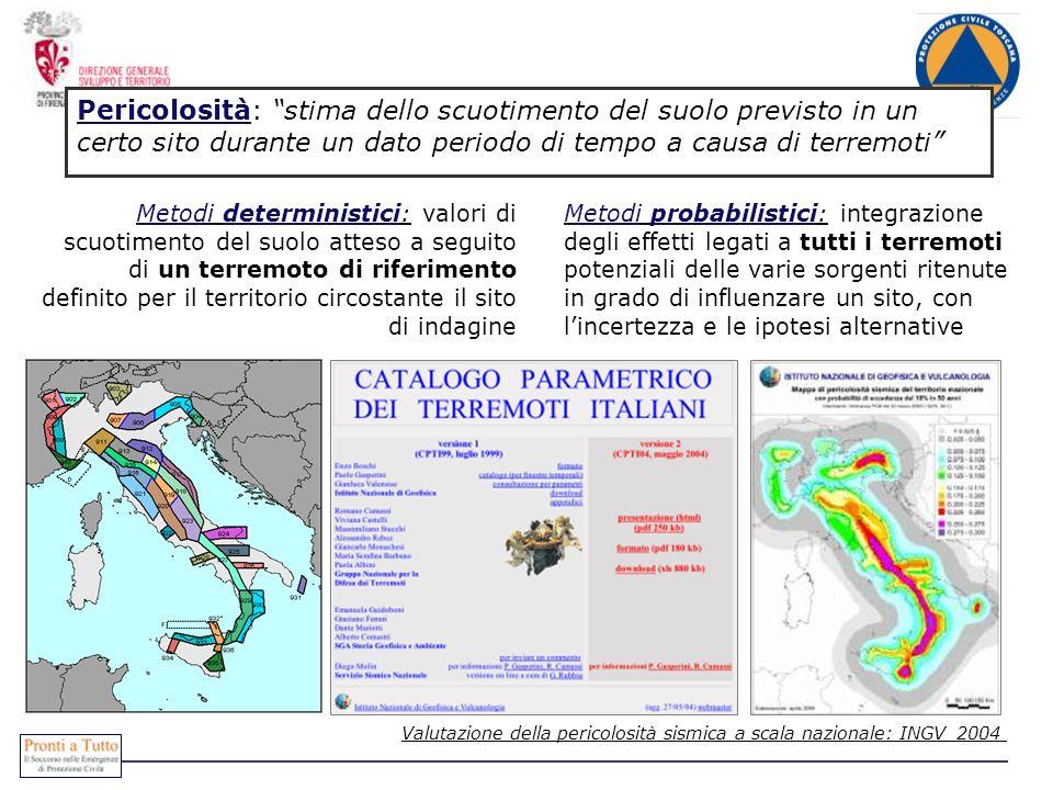 Pericolosità: stima dello scuotimento del suolo previsto in un certo sito durante un dato periodo di tempo a causa di terremoti