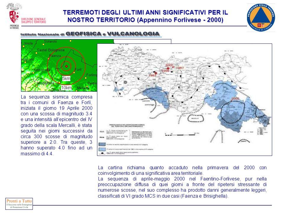 TERREMOTI DEGLI ULTIMI ANNI SIGNIFICATIVI PER IL NOSTRO TERRITORIO (Appennino Forlivese - 2000)