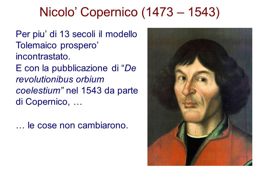 Nicolo' Copernico (1473 – 1543) Per piu' di 13 secoli il modello Tolemaico prospero' incontrastato.