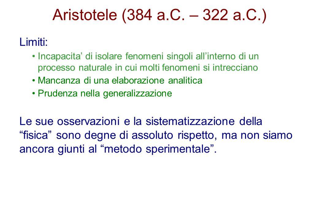 Aristotele (384 a.C. – 322 a.C.) Limiti: