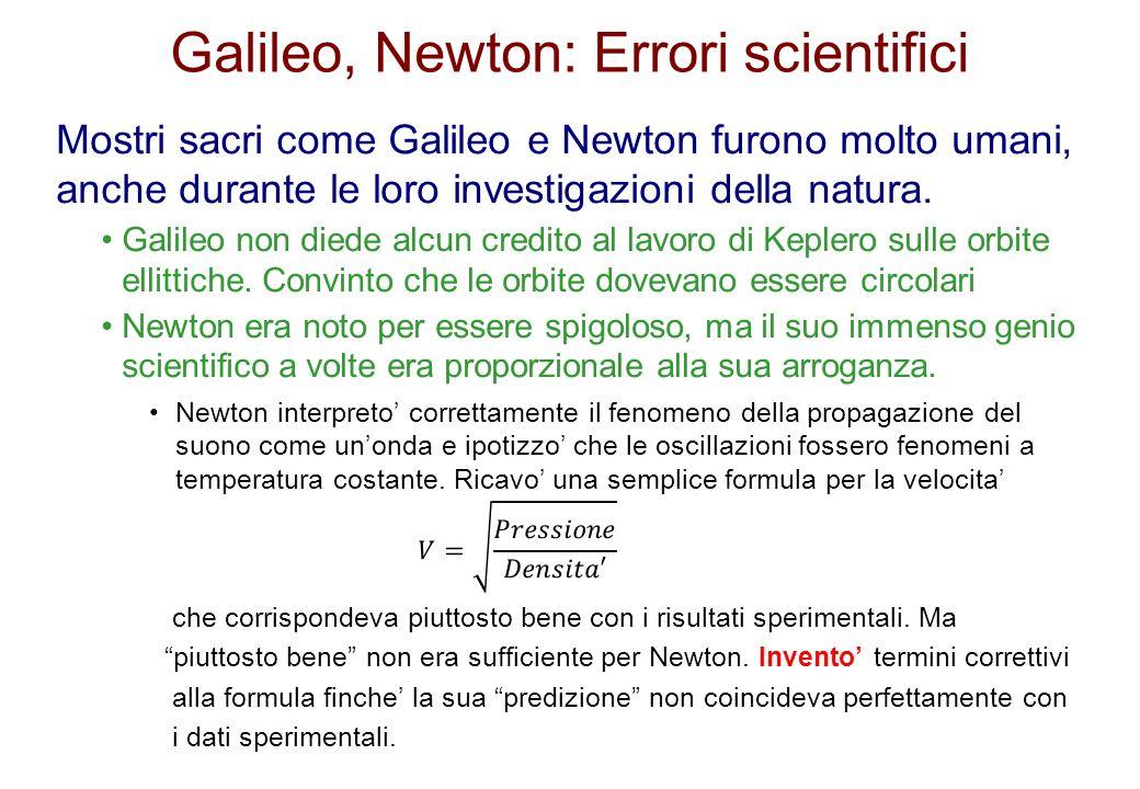 Galileo, Newton: Errori scientifici