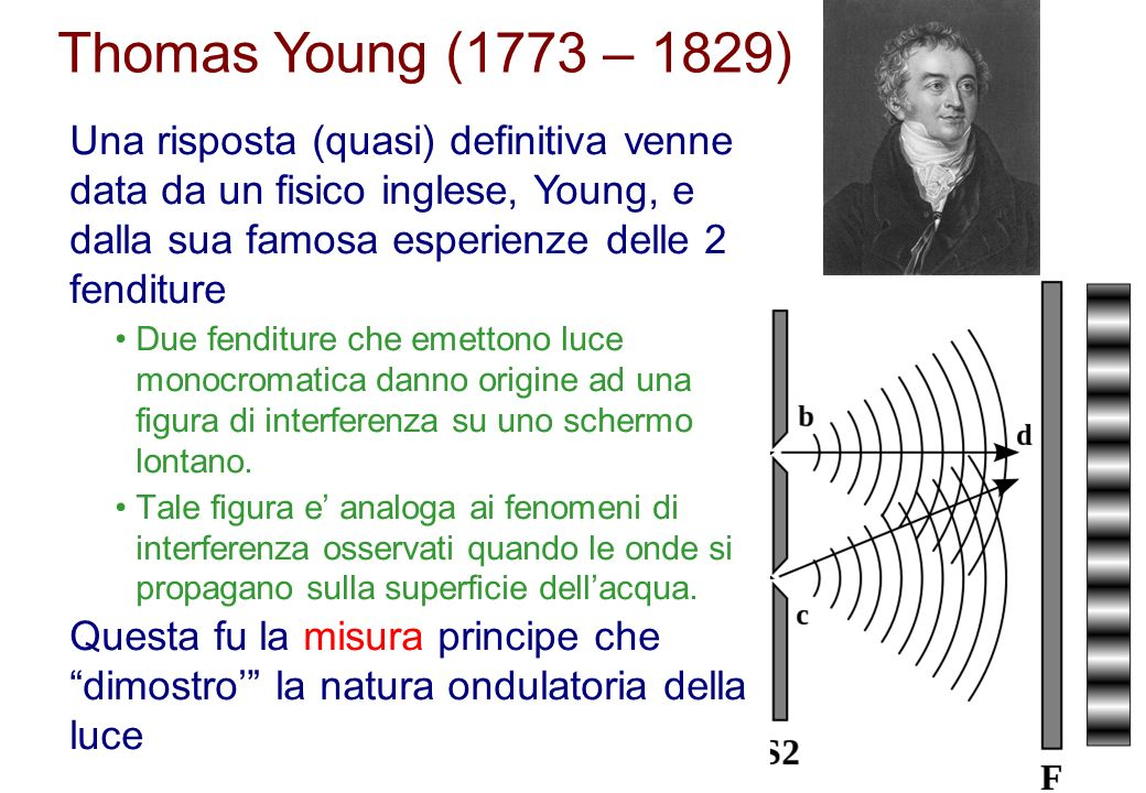 Thomas Young (1773 – 1829) Una risposta (quasi) definitiva venne data da un fisico inglese, Young, e dalla sua famosa esperienze delle 2 fenditure.