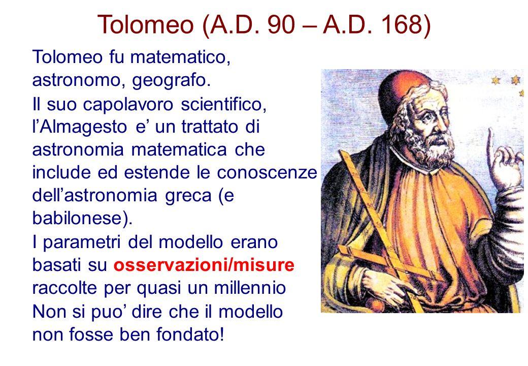 Tolomeo (A.D. 90 – A.D. 168) Tolomeo fu matematico, astronomo, geografo.