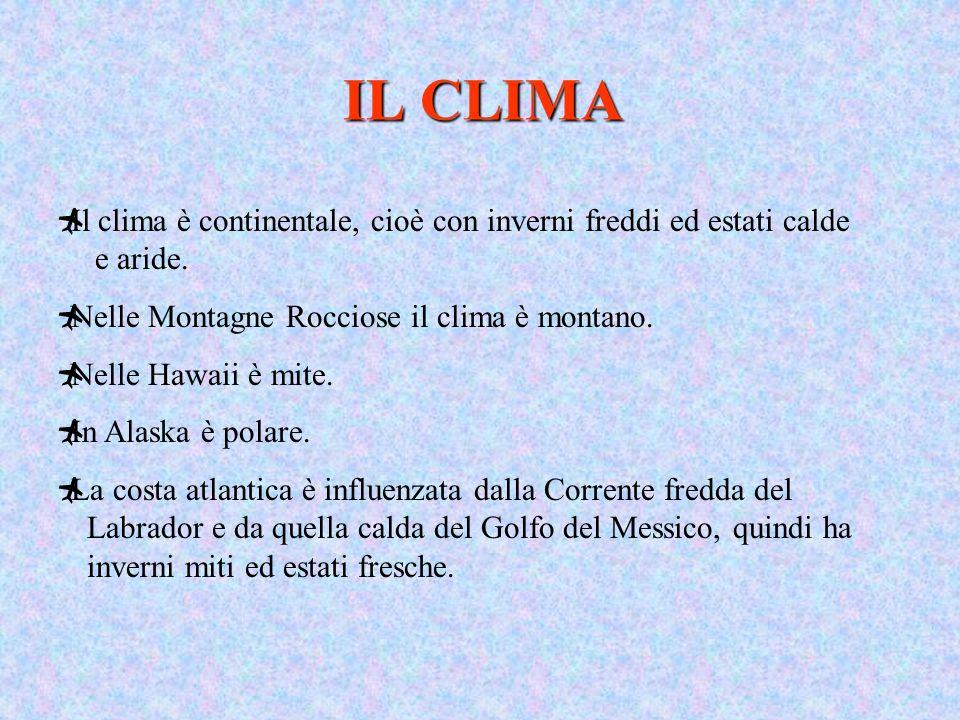 IL CLIMA Il clima è continentale, cioè con inverni freddi ed estati calde e aride. Nelle Montagne Rocciose il clima è montano.