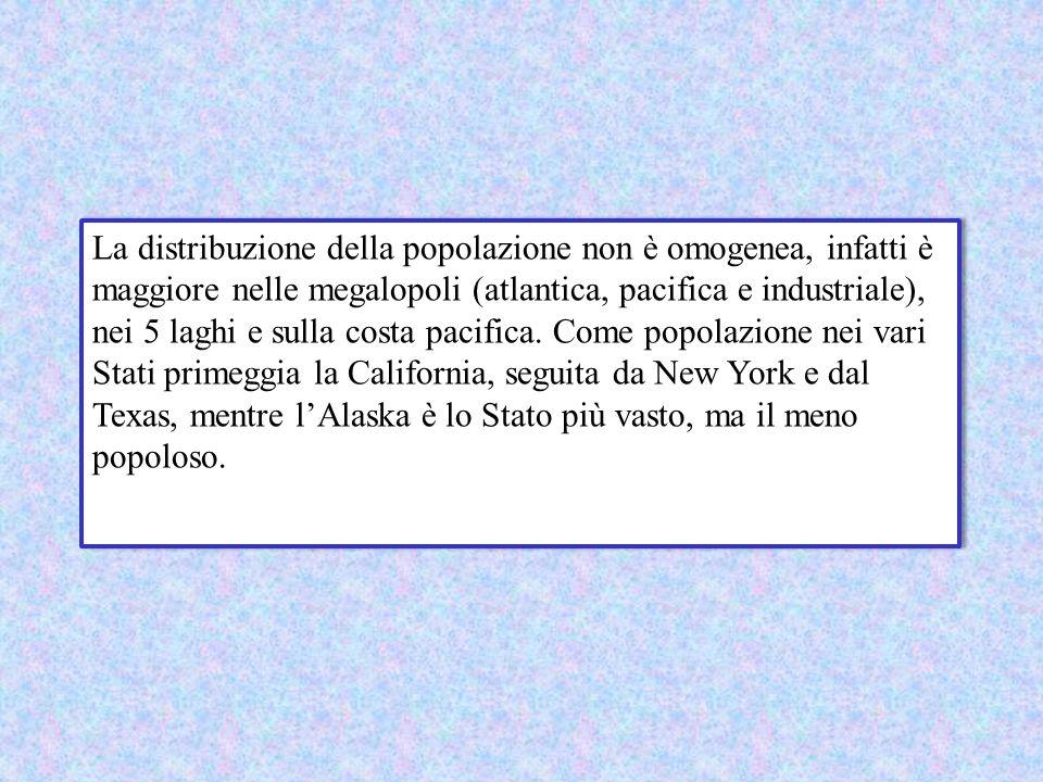 La distribuzione della popolazione non è omogenea, infatti è maggiore nelle megalopoli (atlantica, pacifica e industriale), nei 5 laghi e sulla costa pacifica.