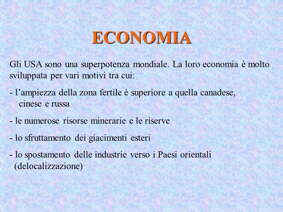 ECONOMIA Gli USA sono una superpotenza mondiale. La loro economia è molto sviluppata per vari motivi tra cui: