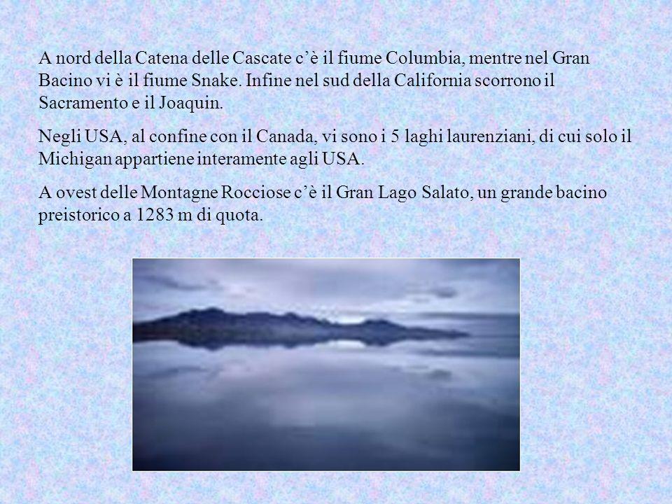 A nord della Catena delle Cascate c'è il fiume Columbia, mentre nel Gran Bacino vi è il fiume Snake. Infine nel sud della California scorrono il Sacramento e il Joaquin.