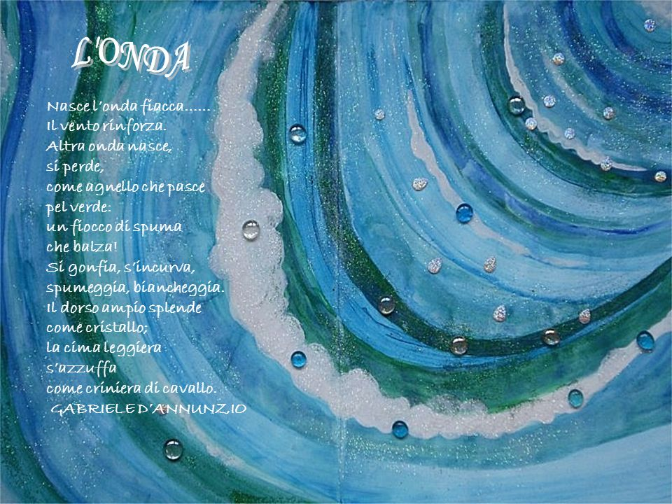 L ONDA Nasce l'onda fiacca…… Il vento rinforza. Altra onda nasce,