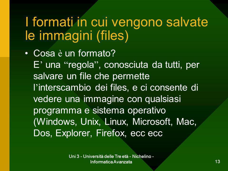 I formati in cui vengono salvate le immagini (files)