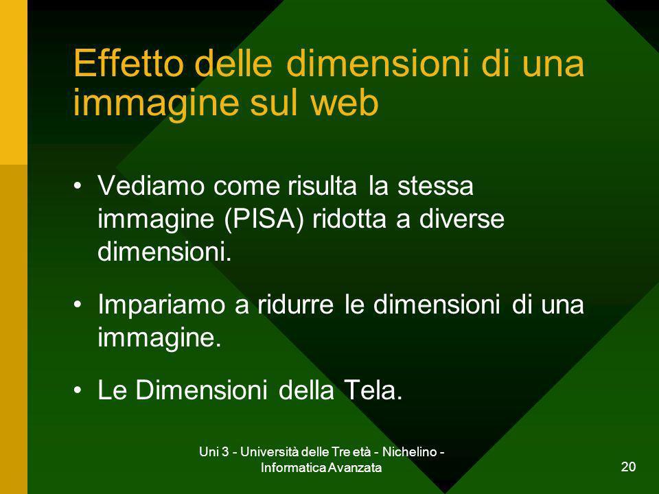 Effetto delle dimensioni di una immagine sul web