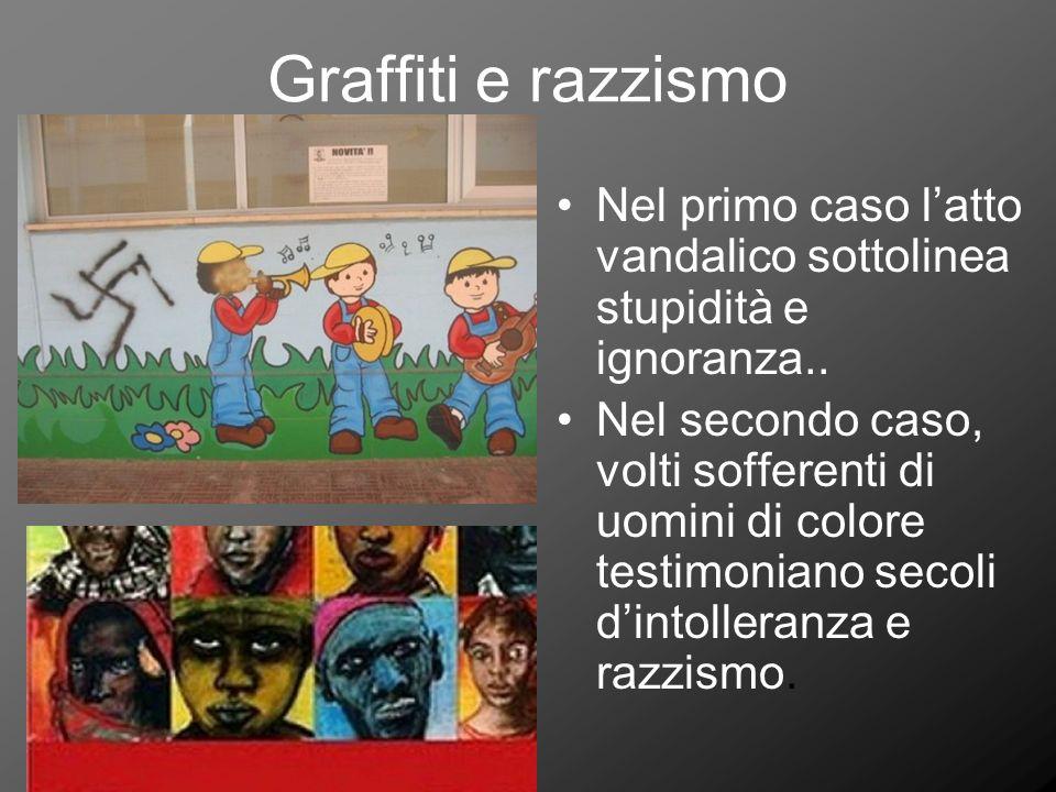 Graffiti e razzismo Nel primo caso l'atto vandalico sottolinea stupidità e ignoranza..