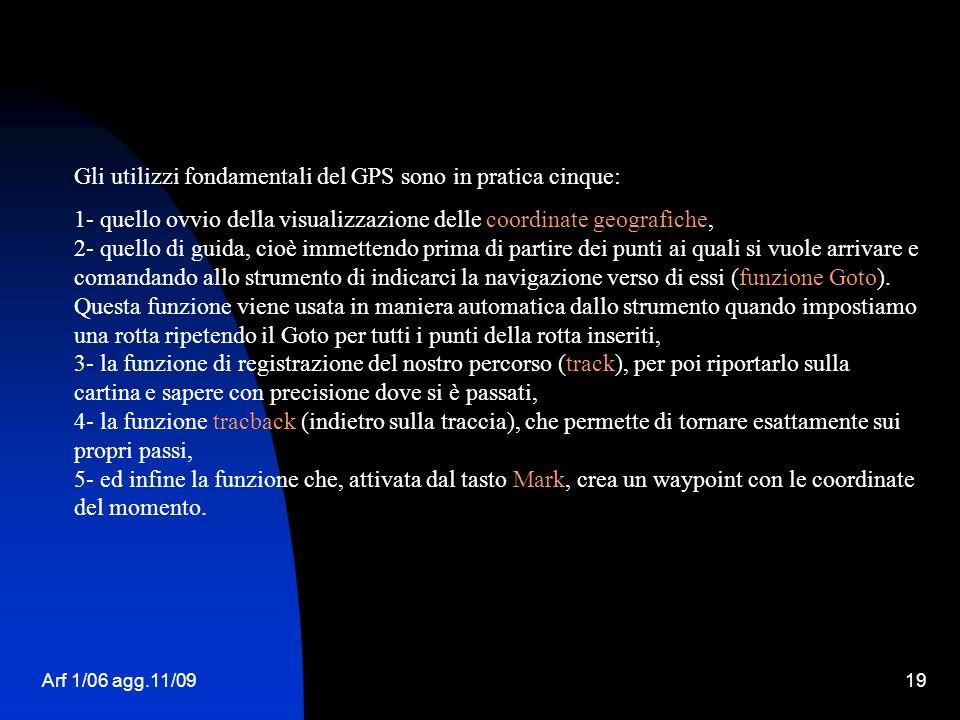 Gli utilizzi fondamentali del GPS sono in pratica cinque: