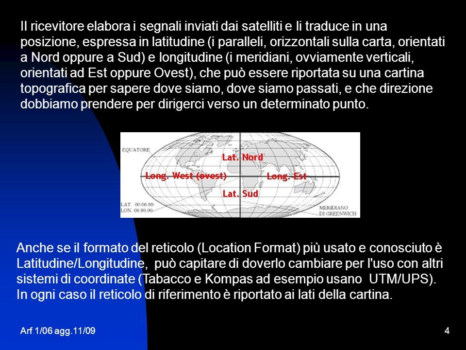 Il ricevitore elabora i segnali inviati dai satelliti e li traduce in una posizione, espressa in latitudine (i paralleli, orizzontali sulla carta, orientati a Nord oppure a Sud) e longitudine (i meridiani, ovviamente verticali, orientati ad Est oppure Ovest), che può essere riportata su una cartina topografica per sapere dove siamo, dove siamo passati, e che direzione dobbiamo prendere per dirigerci verso un determinato punto.