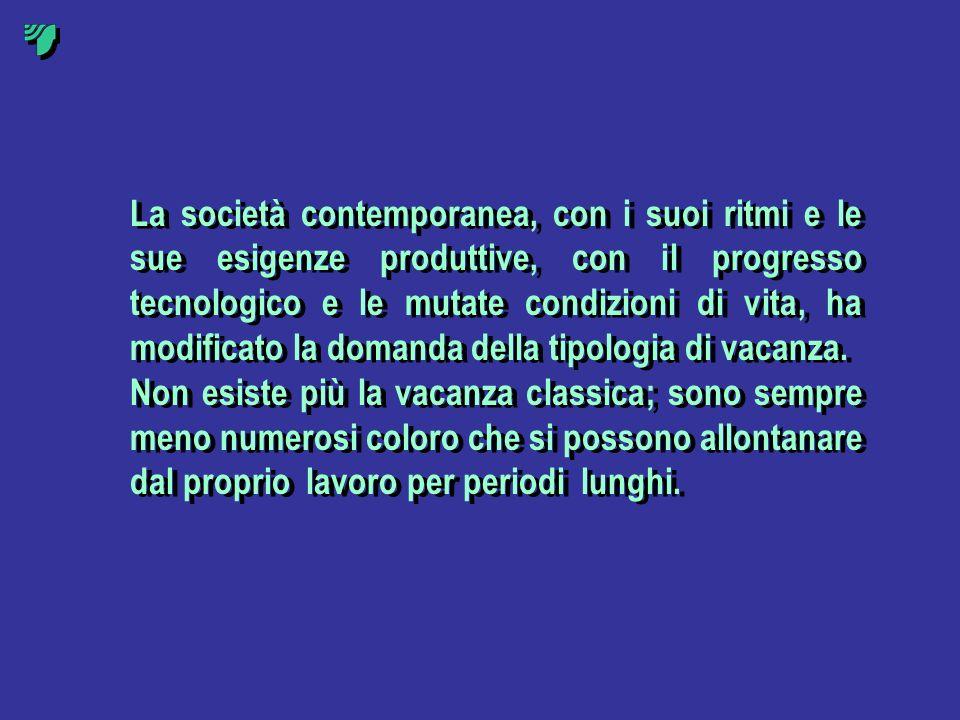 La società contemporanea, con i suoi ritmi e le sue esigenze produttive, con il progresso tecnologico e le mutate condizioni di vita, ha modificato la domanda della tipologia di vacanza.