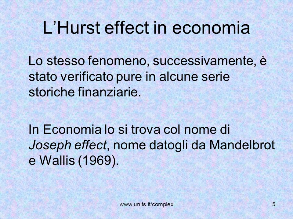 L'Hurst effect in economia