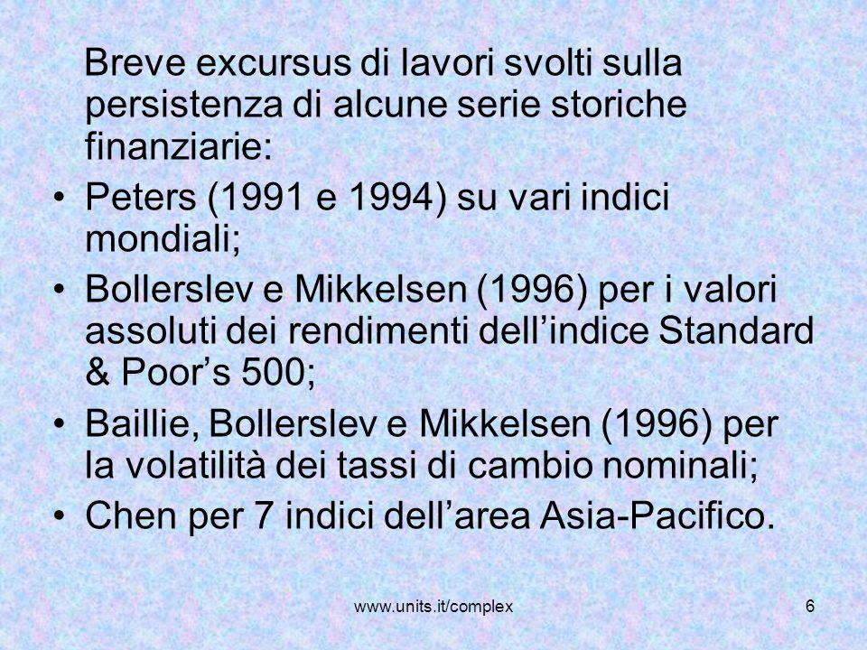 Peters (1991 e 1994) su vari indici mondiali;