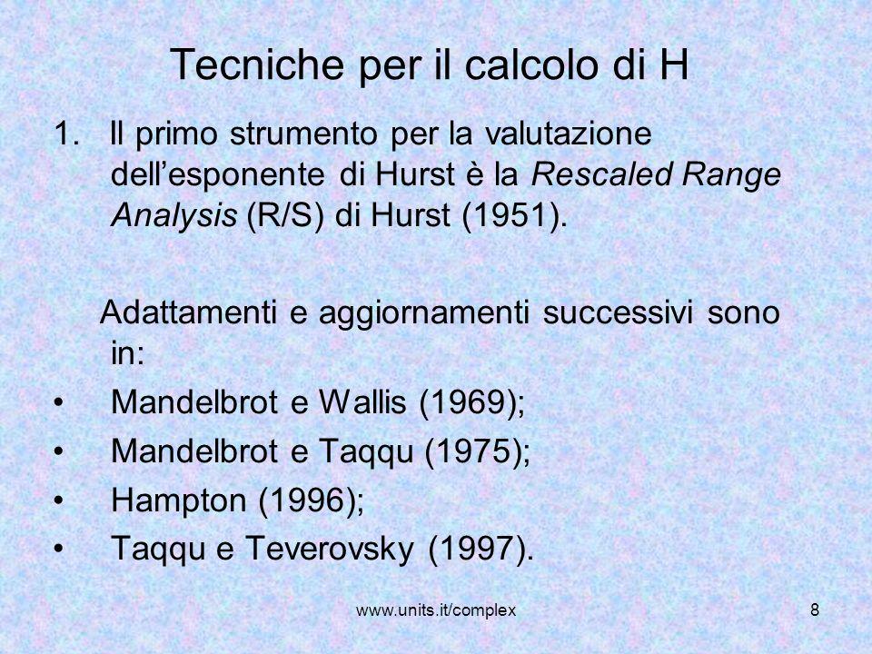 Tecniche per il calcolo di H