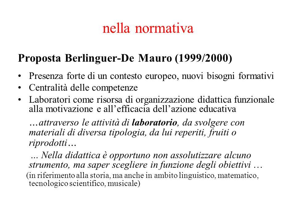 nella normativa Proposta Berlinguer-De Mauro (1999/2000)