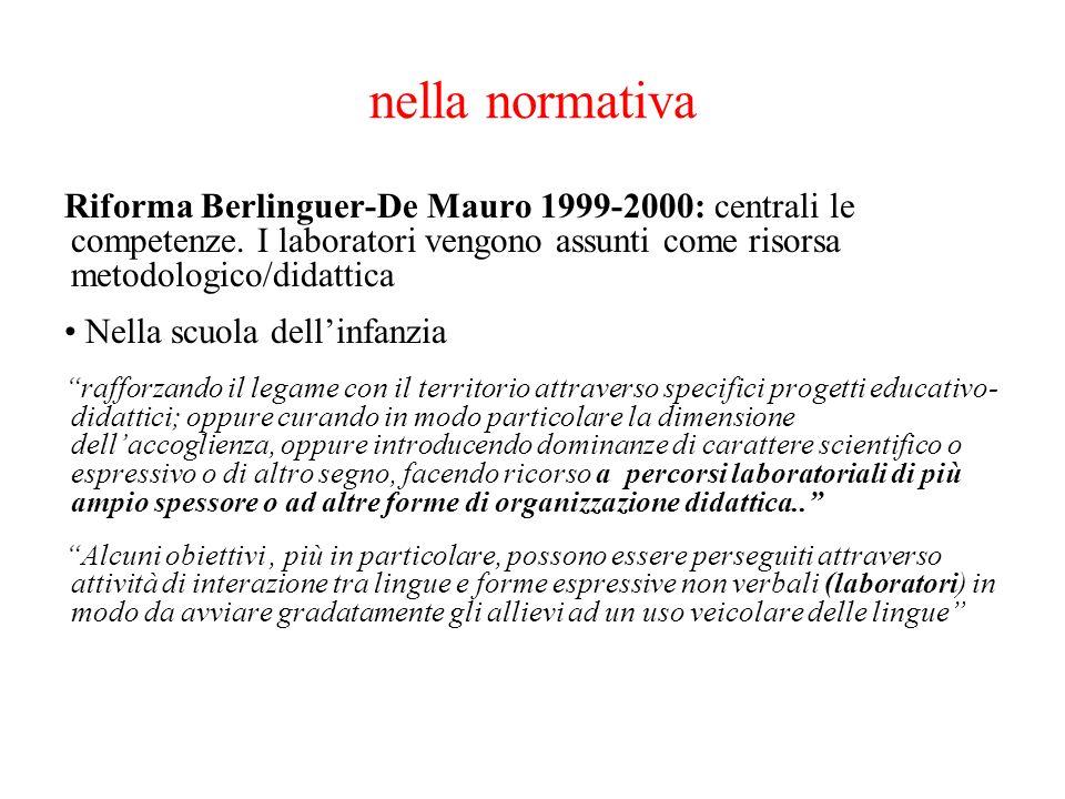 nella normativa Riforma Berlinguer-De Mauro 1999-2000: centrali le competenze. I laboratori vengono assunti come risorsa metodologico/didattica.
