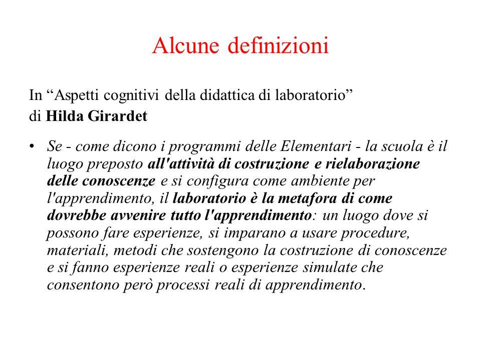 Alcune definizioni In Aspetti cognitivi della didattica di laboratorio di Hilda Girardet.