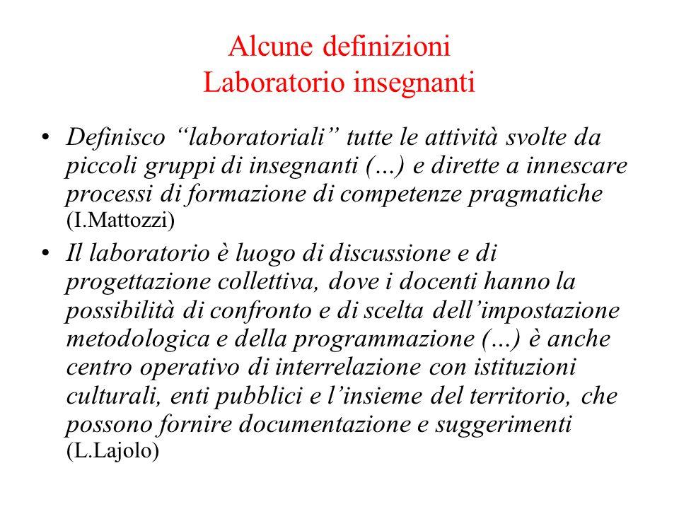 Alcune definizioni Laboratorio insegnanti
