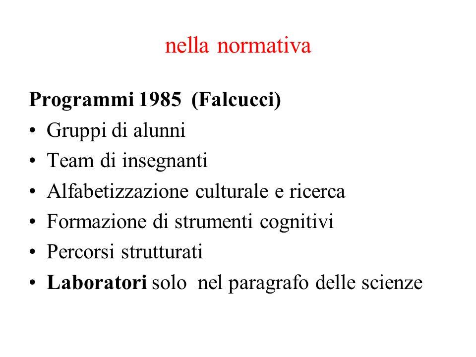 nella normativa Programmi 1985 (Falcucci) Gruppi di alunni