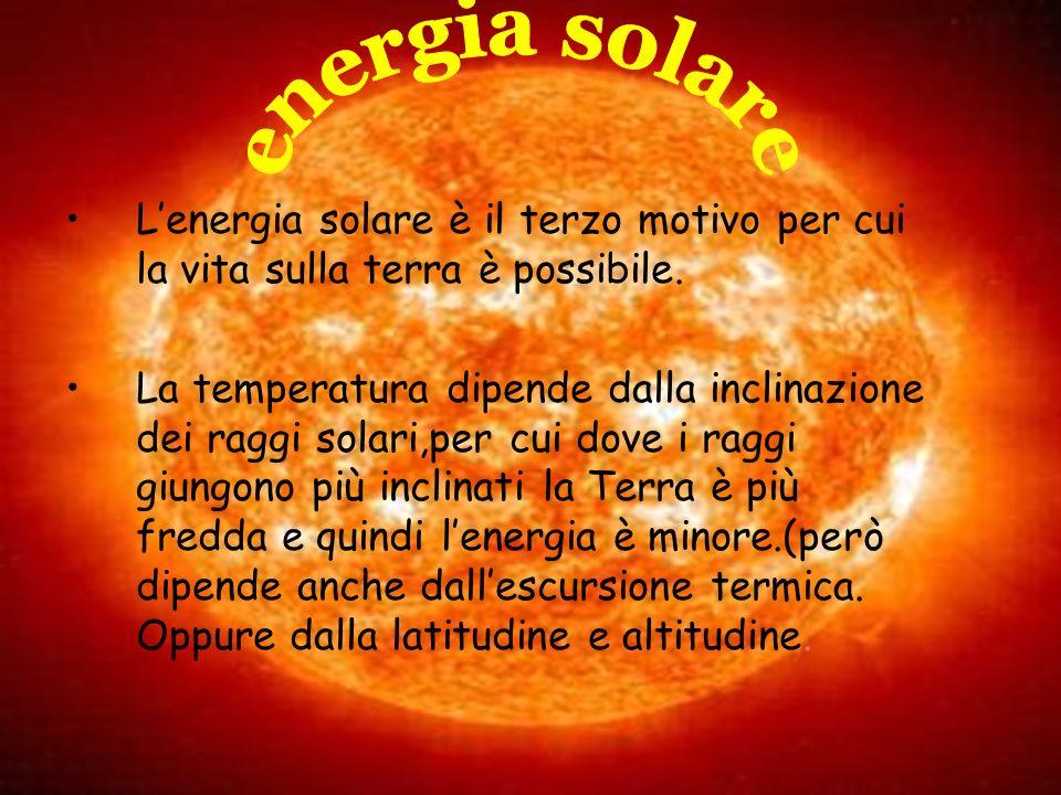 energia solare L'energia solare è il terzo motivo per cui la vita sulla terra è possibile.