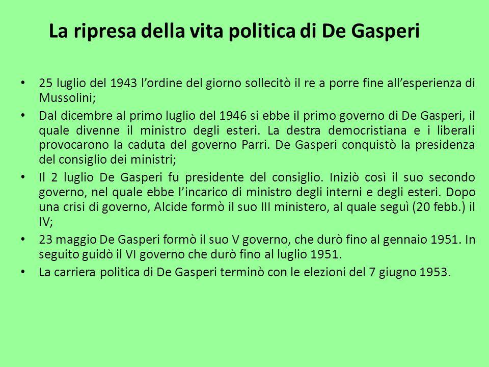 La ripresa della vita politica di De Gasperi
