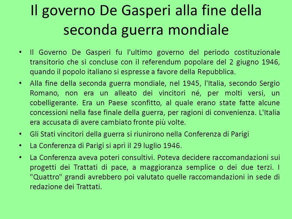 Il governo De Gasperi alla fine della seconda guerra mondiale