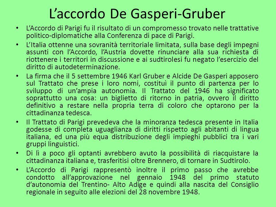 L'accordo De Gasperi-Gruber