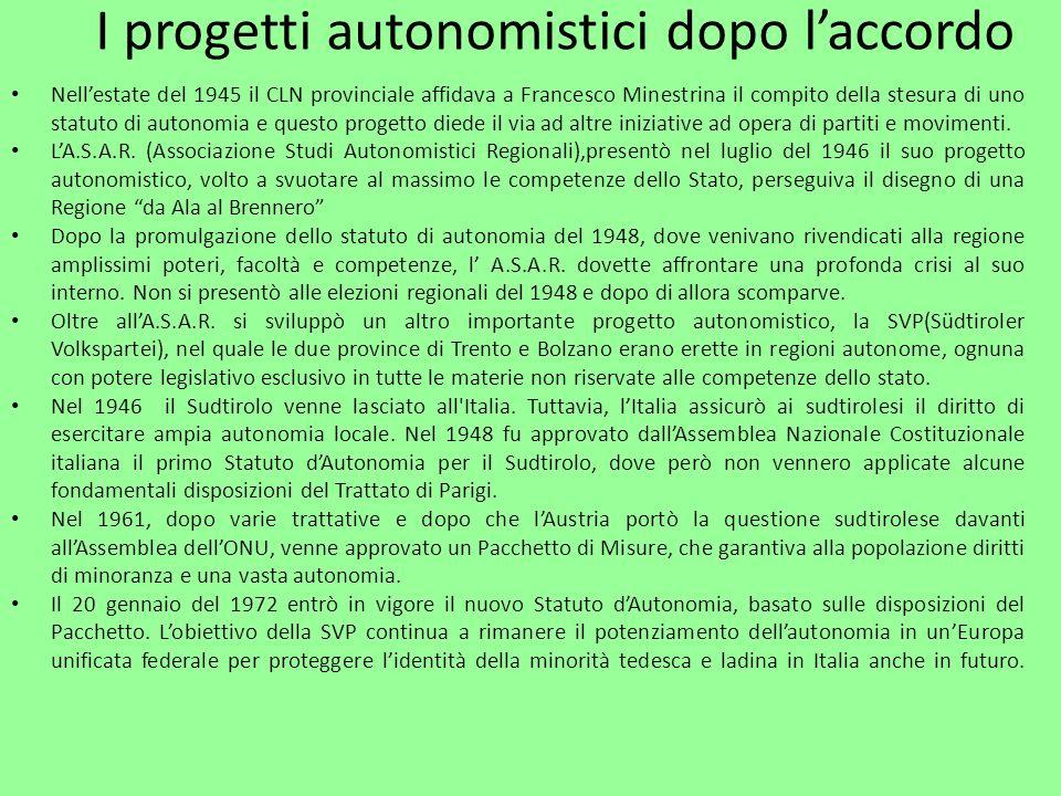 I progetti autonomistici dopo l'accordo