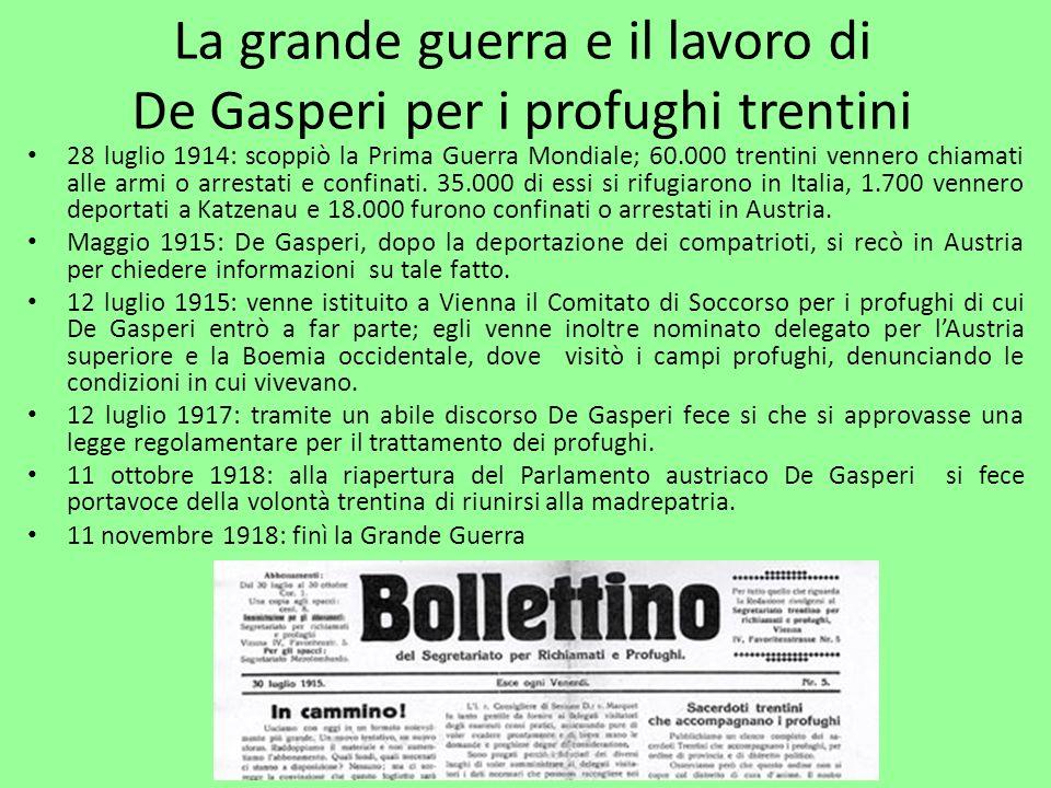 La grande guerra e il lavoro di De Gasperi per i profughi trentini