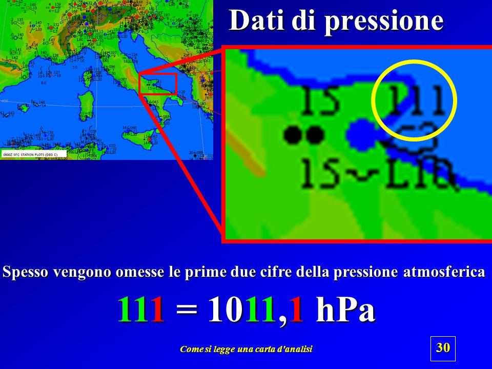 Dati di pressione Spesso vengono omesse le prime due cifre della pressione atmosferica. 111 = 1011,1 hPa.