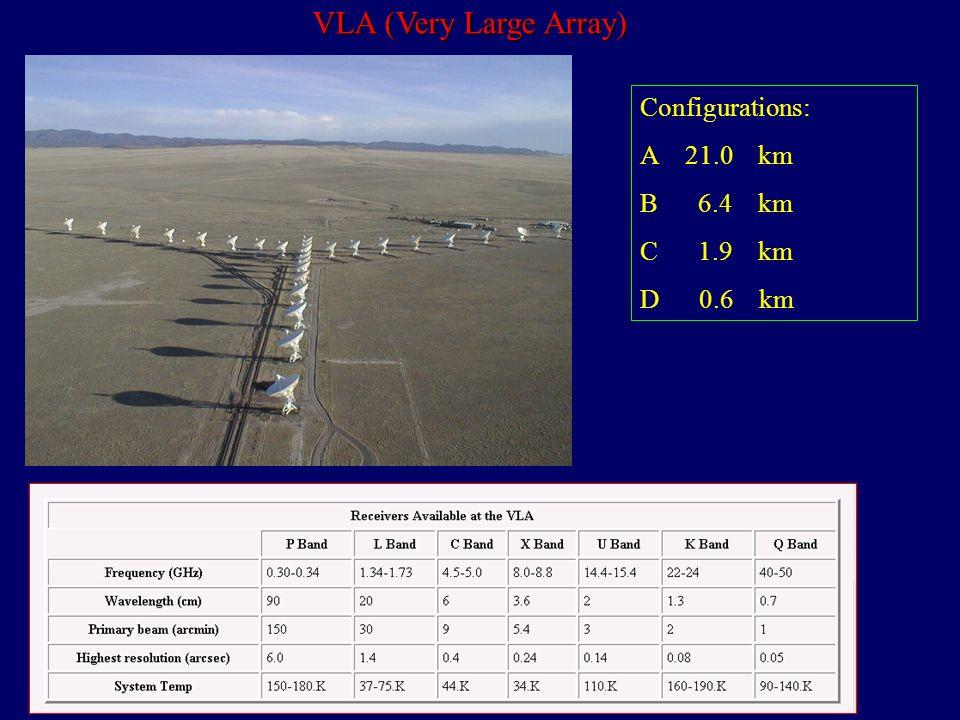 VLA (Very Large Array) Configurations: A 21.0 km B 6.4 km C 1.9 km