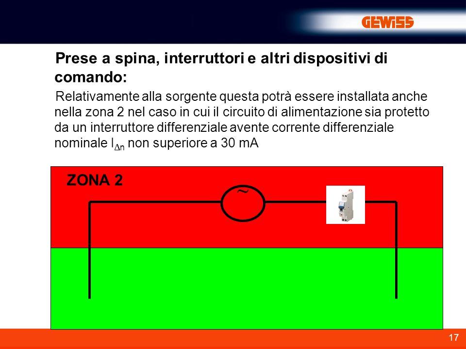 ~ Prese a spina, interruttori e altri dispositivi di comando: ZONA 2