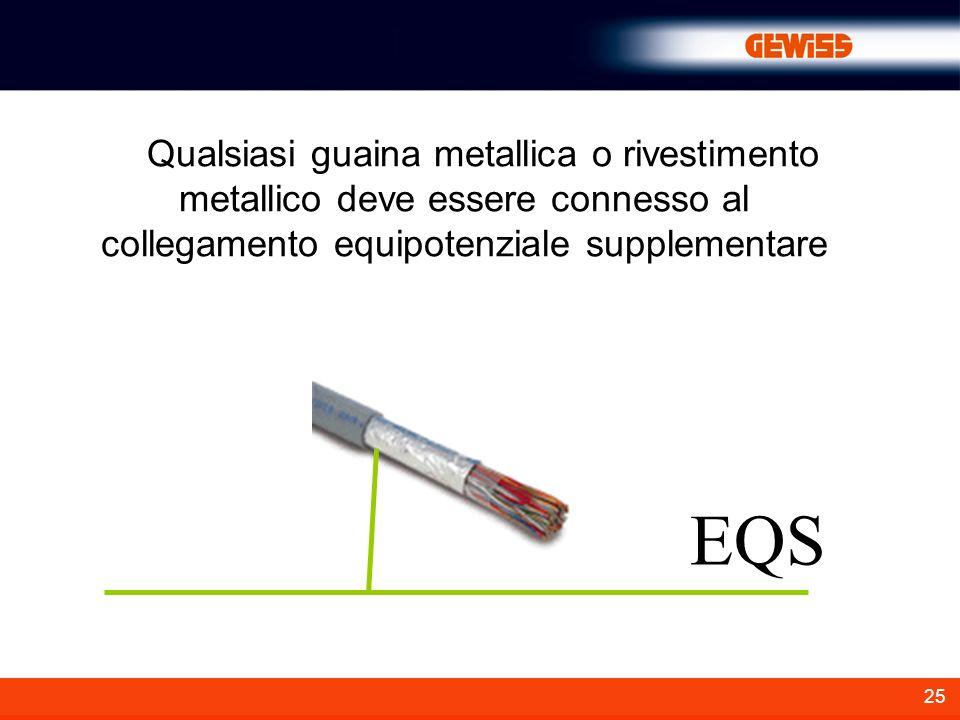 Qualsiasi guaina metallica o rivestimento metallico deve essere connesso al collegamento equipotenziale supplementare